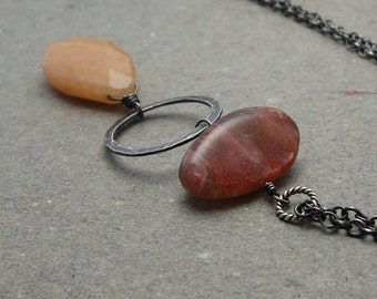 Long Sunstone Necklace Orange Peach Sunstone, Aventurine Oxidized Sterling Silver Gift for Wife
