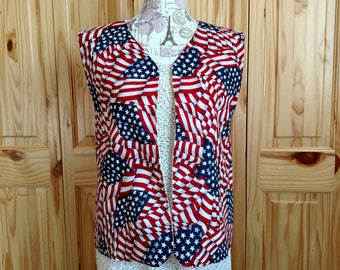 Vest, Straight Waving Flag Vest, American Flag, USA, United States, America