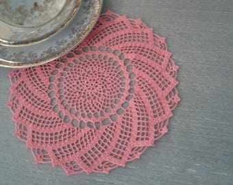 Pink spiral romantic lace doily (made to order)