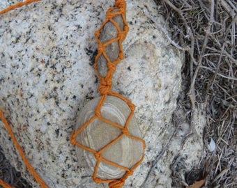 Bohemian Orange Organic Hemp Wrapped Hippie Macrame Crystal Adjustable Necklace