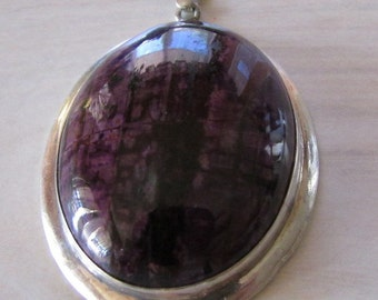 Sterling Silver Pendant with Purple Striated Stone