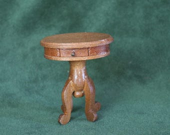Miniature Wooden End Table with Drawer, 1:12 Scale