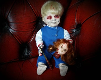 Creepy doll. Horror doll. Reborn doll. Gothic doll. Halloween doll. Art doll. Porcelain doll. Horror decor. Horror prop. The walking dead.