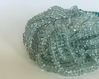 Aquamarine Beads, 14 inch Full Strand, 4mm- Smooth Rondelle Aquamarine Bead Strand - Item 393
