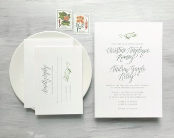 Calligraphy Wedding Invitation Suite, Digital Print, Custom Design