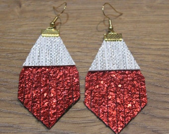 Holiday Titan Leather Earrings - Textured Red and Silver