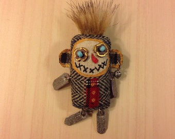Brooch doll monster fantasy creature strange creature     doll textile brooch art brooch fabric brooch pin whimsical cute brooch pin doll