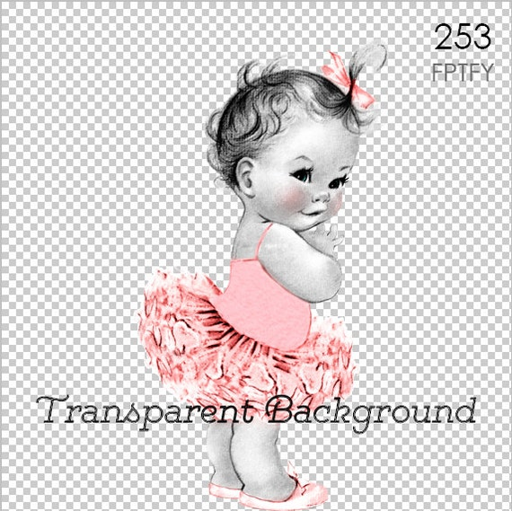 Vintage Baby Ballerina Pink Tutu LARGE PNG Digital Image