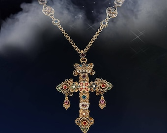 Elvira's Gothic Jewel Cross Necklace, Mistress of the Dark, Cross Necklace, Goth Necklace, Gothic Cross Jewelry, Crystal Cross EL_N114