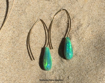 Emerald Green Opal Earrings on 9ct Yellow Gold Sweeping Hooks