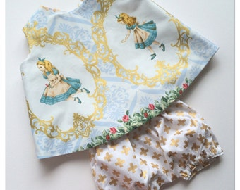 "Baby girl ""Alice in gold"" reversible pinafore bloomers set 2 piece outfit/photo prop"