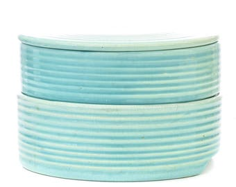 FREE SHIPPING - Studio Pottery Light Blue Stacking Dishes Bowls