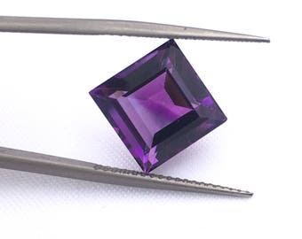 SALE African Amethyst 10MM Step Cut Square / February Birthstone / Dark Purple Color / African Origin /Slide Inclusion / Price per piece.
