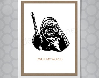 Star Wars Ewok Love or Birthday Funny Illustrated Card