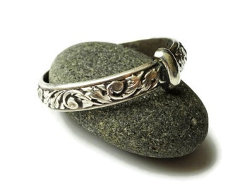 Original Thistle Pattern Ring - Sterling Silver - Celtic - All Sizes - Sporran Key - Blacksmith - Highlander handfast - Wedding - Scotland