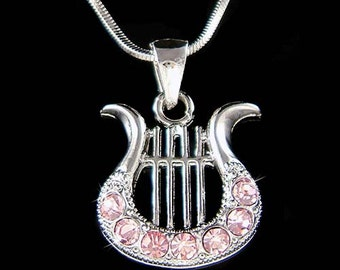 Pink Swarovski Crystal HARP music Musical Instrument Pendant Necklace Christmas Gift new