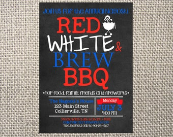 PRINTED or DIGITAL | red white brew bbq | Family Reunion Invitation | Invites | American | Grill Out Beer | Custom Invitations .82 each