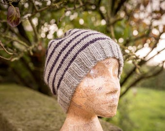 Womens Grey/Purple Striped Pom Pom Hat - Wool, Alpaca - Hand Knit - Ready to Ship