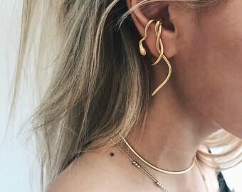Snake ear cuff,gold ear cuff,snake ear piece,gold snake earrings,mono earring,single earring,gold ear jacket,snake suspender earring,medusa
