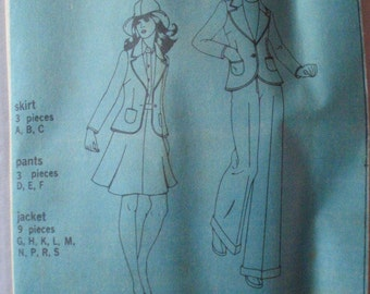 Women's Vintage Sewing Pattern - Unlined Jacket, Flared Skirt and Wide Leg Pants - Simplicity 5918 - Size 12, Bust 34, Uncut
