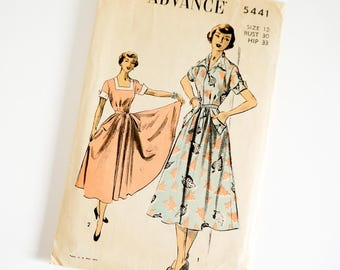 Vintage 1950s Womens Size 12 Wrap Around Dress Advance Sewing Pattern 2962 Complete / b30 w25