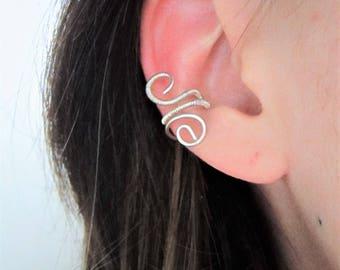 Ear cuff - Wire Wapping ear ring - sterling silver -  minimalist jewelry