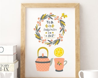 Tea pot cup quote vintage kitchen decor, Tea kitchen wall art, kitchen decor, Tea print, Tea poster, kitchen art, kitchen decor, Tea quote
