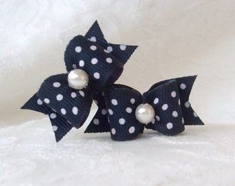 Dog Bow- Navy Blue Polka Dot Pair