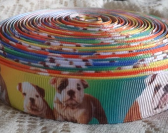 Bulldog ribbon Bulldog grosgrain ribbon 7/8 dog Grosgrain ribbon Bulldogge ribbon