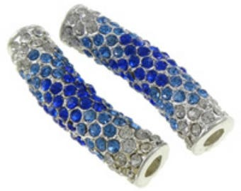1pc fashion tube rhinestone pave beads for jewelry making brass tube-7834b