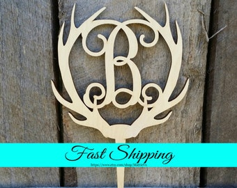 Wooden Antler Cake Topper - Personalized Cake Topper - Monogram Cake Topper - Rustic Wedding Cake Topper - Antler Decor