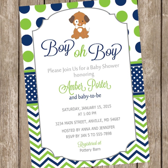 Boy oh boy puppy baby shower invitation lime and navy like this item filmwisefo Image collections