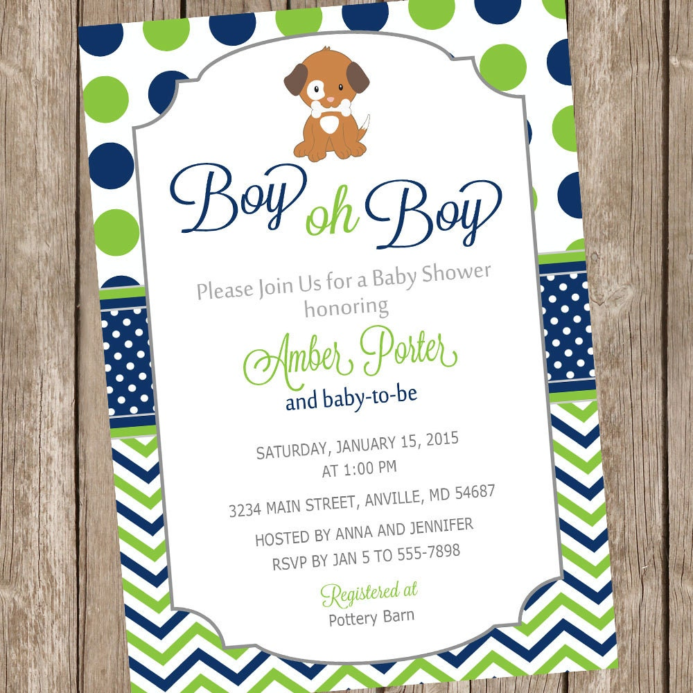 Boy oh Boy Puppy Baby Shower invitation lime and navy