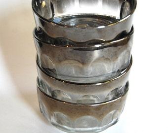 Vintage Set of Four Arcoroc Thumbprint Bowls with Mercury Colored Rim