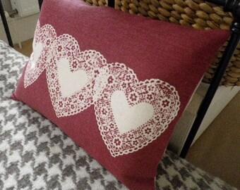 hand printed triple heart overlay cushion