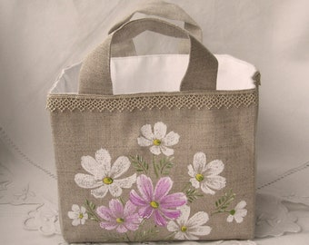 Hand painted linen basket