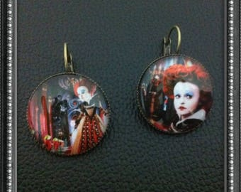 Earrings cabochon Red Queen