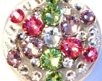 Pastel Rose Pink Peridot Green & Lavender Purple All Swarovski Crystal Embellished  ID Badge Reel