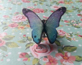 Beautiful Purple & Blue 3D Butterfly Ring