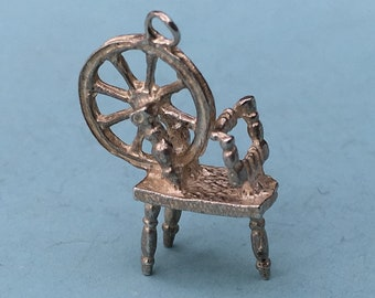 Spinning Wheel Charm - Vintage, Sterling Silver, Bracelet Charm or Pendant. Gifts for Crafters,