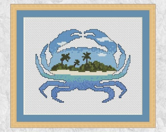 Crab cross stitch pattern, modern beach counted cross stitch chart, cancer zodiac astrology sign, sea, ocean, printable instant download PDF
