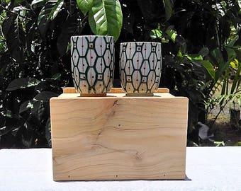 Japanese Ceramic Cups, Vintage Meoto Yunomi Tea Cups, Couple Cups, Glazed Stoneware, Retro Design Tea Cups, Wedding/Anniversary Gift