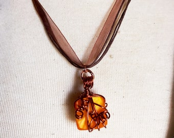 Gifts for Her, Blaze Orange Kirinite and Copper Wire Wrapped multi strand necklace.