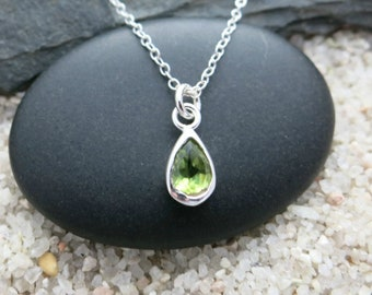 Tiny Peridot Necklace, Sterling Silver Peridot Teardrop Charm, Gemstone Jewelry