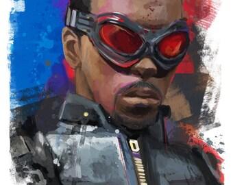 "Captain America Falcon Sam Wilson Avengers Abstract Art Panel, 11x17"""