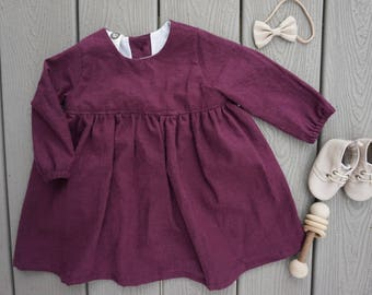 The Ruby Dress, Infant Dress, Baby Cotton Dress, Long Sleeve Dress, Soft Dress, Linen