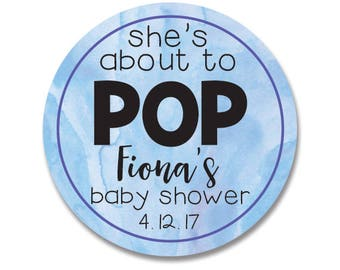 Watercolor baby shower stickers, She's About to Pop, Personalized boy reveal baby shower favor tags