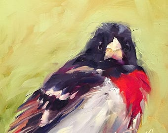 rose-breasted grosbeak // grosbeak // grosbeak art // bird art // bird painting // gift for bird lover // original bird painting // fine art