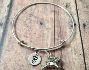 Flying pig initial bangle - flying pig jewelry, pig bracelet, when pigs fly jewelry, inspirational jewelry, silver flying pig pendant