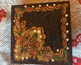 Handmade Wood Burned Celtic Design Vintage Box